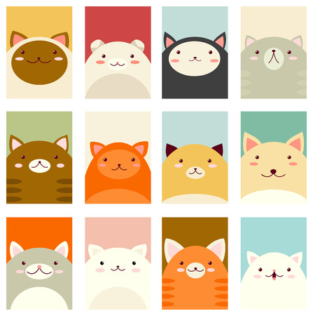 Banner, background, flyer, placard in hand drawn style with cute cats. Holiday poster for scrapbooking. Vector template card for greeting, decoration, congratulation, invitation in pastel colors. EPS8 일러스트