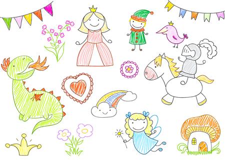 Bocetos vectoriales con personajes de cuentos de hadas: princesa, dragón, caballero, hada, elfo. Estilo de dibujo infantil