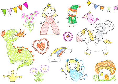Vector sketches with characters of fairy-tales - princess, dragon, knight, fairy, elf. Kid drawing style