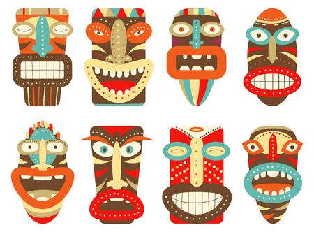 Verzameling van tiki tribal masker. Instellen voor scrapbooking. Vectormalplaymasker voor groet, decoratie, gelukwensen in retro groene, rode, blauwe, gele en oranje kleur. EPS8 Stock Illustratie