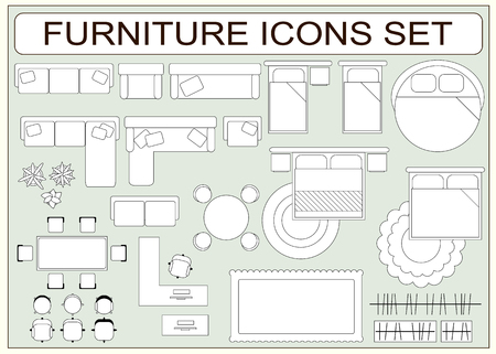 double tap: Set of simple furniture vector icons as design elements - sofa, table, computer desk, carpet, wardrobe, bed, chair, plants, armchair. Top view. EPS8