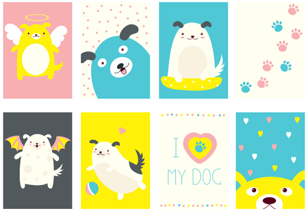 Banner, background, flyer, placard in hand drawn style with cute dogs. Holiday poster for scrapbooking. Vector template card for greeting, decoration, congratulation, invitation with funny puppy. EPS8