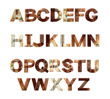uppercase: Alphabet - letters from rusty metal with rivets. Isolated on white background. 3d render Stock Photo