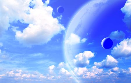 Fantastic sky with white clouds and three planets. 3d render