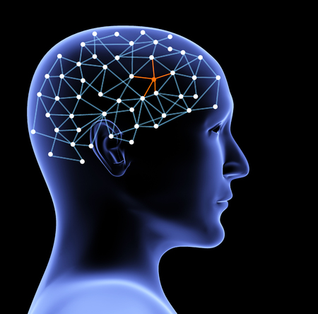 Transparent head of person and neural network of brain with a problematic area. Isolated on black background. 3d render Stock Photo