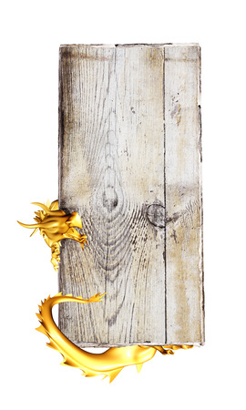 Golden east dragon and old wooden plank. Object isolated on white background. 3d render