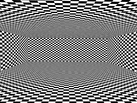Abstract illusion. Black and white. Background with box shape with checkered pattern. 3d render