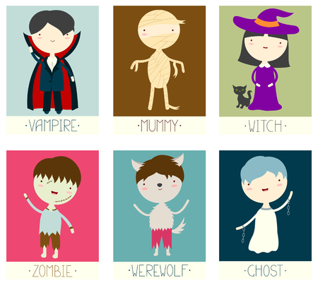 Set of Halloween banner, background, flyer, placard with cute zombie, werewolf, vampire, witch, ghost, mummy.