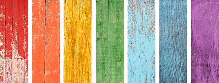 blue violet: Collection of banner with wood textures of all colors of the rainbow spectrum - red, yellow, orange, green, light blue, dark blue and violet
