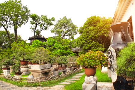 Garden of Bonsai in Humble Administrators Garden, Suzhou, China Stock Photo