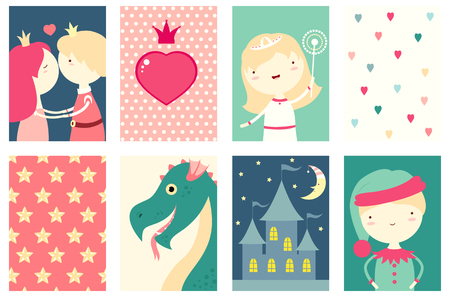elves: Set of banner, background, flyer, placard, sticker, poster for scrapbooking. with cute princess, prince, dragon, fairy, elf, castle. Vector template card for greeting, decoration, congratulation. EPS8 Stock Photo