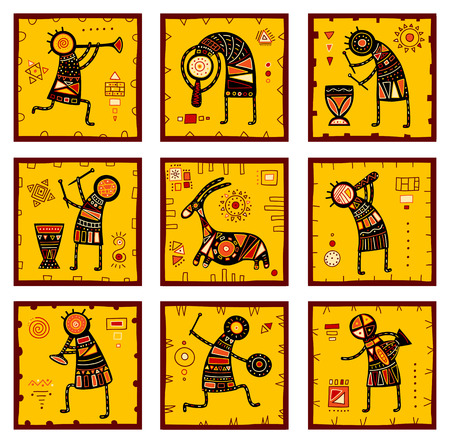 red animal: Collection of nine patterns with African ethnic ornaments with animal and dancing musicians of yellow, orange, black and red color. EPS8 Illustration