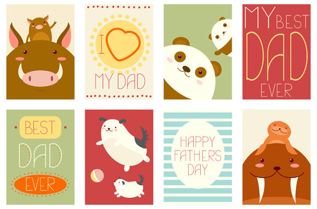 dog: Best dad ever. Collection of banner, background, flyer, placard with cute father animals - panda, walrus, wild boar, dog with baby. Vector template card for Fathers day greeting, decoration, congratulation Illustration