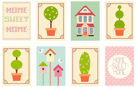 punto de cruz: Home sweet home. Set of banner, background, flyer, placard with cute house, flowet pot with plant, birdhouse, cross-stitch inscription. Vector template card for scrapbooking design, greeting, decoration