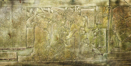 Bas-relief carving with of a Mayan kings, pre-Columbian Maya civilization, Palenque, Chiapas, Mexico. UNESCO world heritage site
