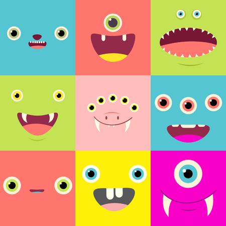 귀여운 만화 괴물 얼굴을 가진 재미있는 배경. 일러스트