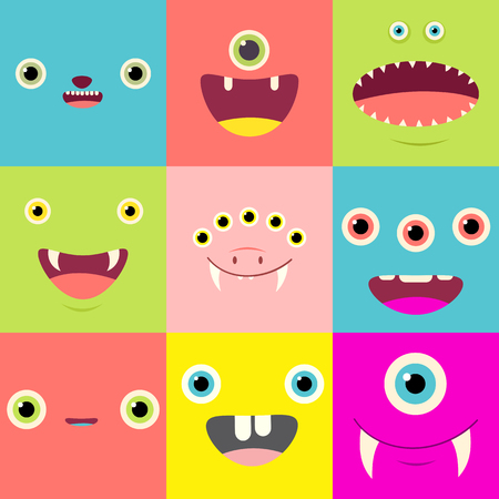Funny background with cute cartoon monsters faces.