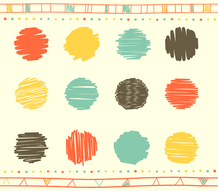 Vector collection of retro scribbled circular lines with hand drawn style of green, red, gray and yellow color