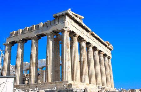 Parthenon on the Acropolis in Athens, Greece. On blue sky background Stock Photo