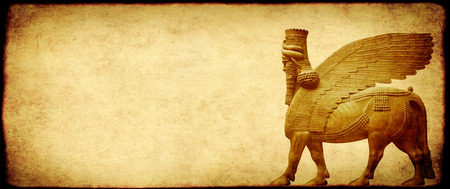 Grunge background with paper texture and lamassu - human-headed winged bull statue, Assyrian protective deity  Stock Photo
