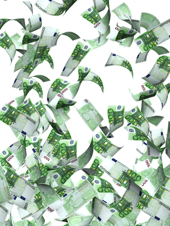 bringing: Flying banknotes of hundred euro. Isolated on white background. 3d render