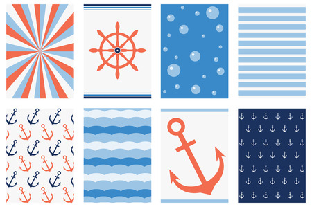 Set of banner, background, flyer, placard, sticker, poster for scrapbooking in marine style with strip pattern, wheel, anchor. Vector template card for greeting, decoration, invitation. EPS8 Illustration