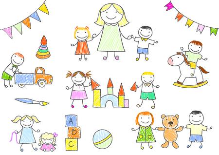 Vectorillustratie met gelukkige leerlingen en leraar. Kleuterjuf en kinderen spelen met speelgoed - pop, teddybeer, auto. Schets in doodle stijl. EPS8