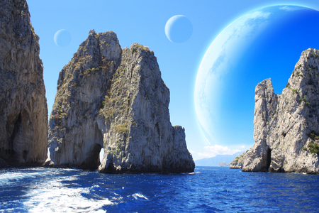 Landscape of fantasy planet - sea, rock and moons. Elements of this image furnished by NASA. 3d render Stock Photo