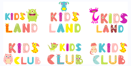 Set of Kids Land and Kids Club inscriptions with colorful letters in cute cartoon monsters form. For childrens design. EPS8 Illustration
