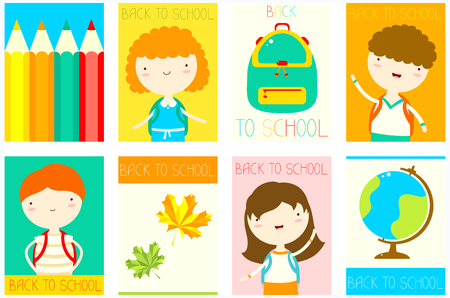Back to school. Set of banner, background, flyer, placard with cute children, pencil, bag, globe, maple leaf. Vector template card for scrapbooking design, greeting, decoration, invitation. EPS8