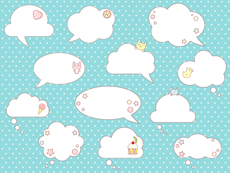 Collection of vector comic speech bubbles with cute rabbits and duck, in kawaii style. On background with dots pattern.