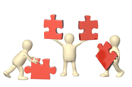 puzzling: Success of teamwork. Three 3d mans with part of puzzles of red color. Isolated on white background. 3d render Stock Photo