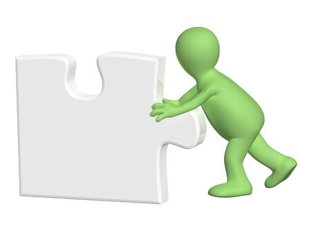 green issue: 3d man pushing part of puzzle of grey color. Isolated on white background. 3d render
