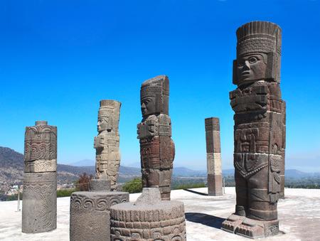 Famous Toltec Atlantes - columns on top Pyramid of Quetzalcoatl, Tula de Allende, Hidalgo state, Mexico. UNESCO world heritage site Standard-Bild