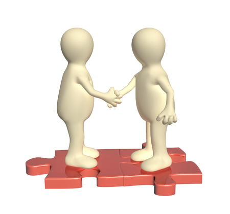 handclasp: Success of teamwork. Handshake two 3d mans on attached parts of puzzles. Isolated on white background. 3d render Stock Photo