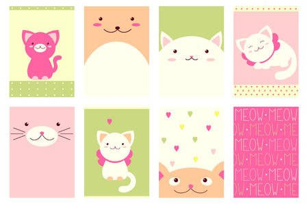 Banner, background, flyer, placard in hand drawn style with cute cats. Holiday poster for scrapbooking. Vector template card for greeting, decoration, congratulation, invitation in sweet colors. EPS8 일러스트