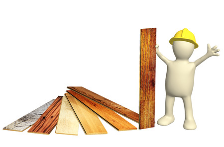 3d builder with new parquet planks. Isolated on white background. 3d render Stock Photo