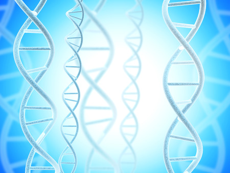 Digital models of DNA structure on abstract blue background. 3d render Stock Photo