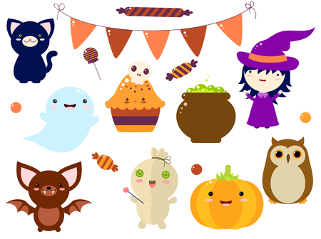 Set of cute Halloween characters and ornaments - witch, black cat, candy, flags, pumpkin, bat, witchs pot, cake with a sugar skull, owl, ghost, voodoo doll. EPS8 Illustration