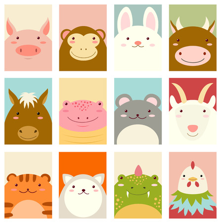 Banner, background, flyer, placard in hand drawn style with cute animals of chinese horoscope. Holiday poster for scrapbooking. Vector card for greeting, decoration, congratulation, invitation. EPS8 Vettoriali