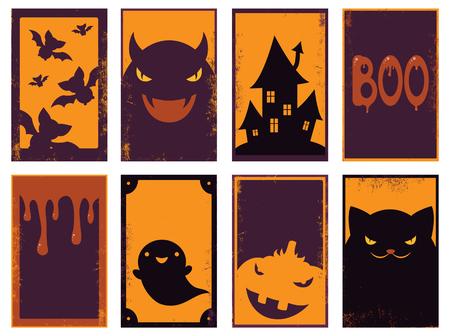 Satz Vektor Halloween-Karten der orange, schwarzen und roten Farbe. Poster zum Scrapbooking. Vector Schablonenkarte für Gruß, Dekoration, Glückwunsch, Einladung. EPS8 Vektorgrafik