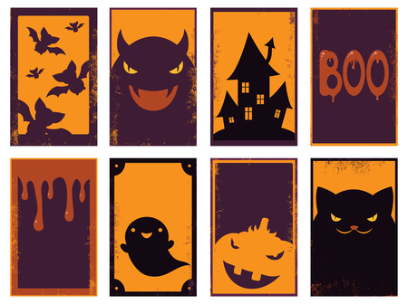 Set of vector Halloween cards of orange, black and red color. Poster for scrapbooking. Vector template card for greeting, decoration, congratulation, invitation. EPS8 Vektorové ilustrace