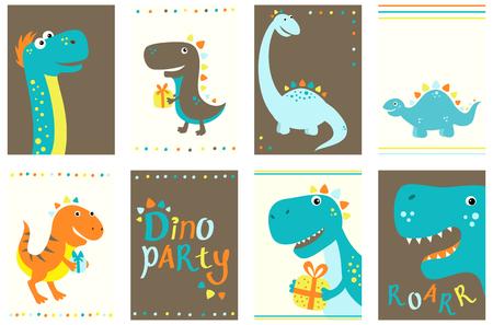 Ensemble de bannière d'anniversaire, arrière-plan, flyer, placard avec des dinosaures mignons. Affiches et autocollants d'anniversaire. Carte de modèle de vecteur pour les voeux, félicitations, invitation.