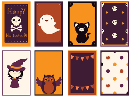 Set of vector Halloween cards of orange, black and red color. Poster for scrapbooking. Vector template card for greeting, decoration, congratulation, invitation, sticker.