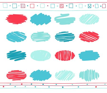 rotund: Collection of retro scribbled circular lines with hand drawn style of blue and red color.