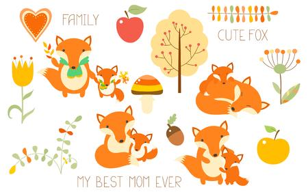Verzameling van schattige dieren familie. Vos met baby in verschillende situatie.