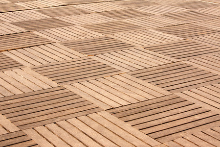 Outdoor tile wooden floor with square elements Stock Photo