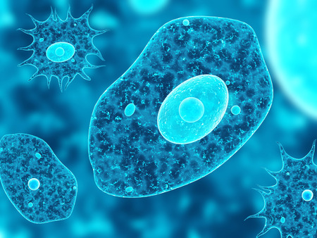 Amoebas on abstract blue background. 3d render