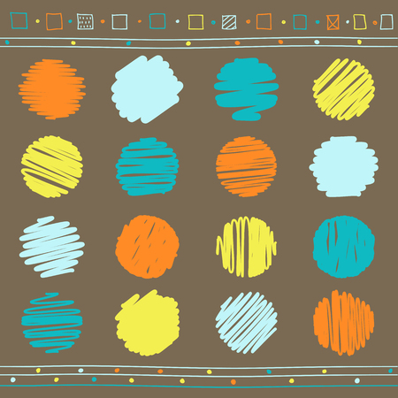Vector collection of retro scribbled lines with hand drawn style of retro colors - brown, blue, orange and yellow. EPS8 Illustration