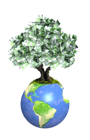 Money tree with euro banknotes on Earth. Isolated on white background. 3d render. Element of this image furnished by NASA